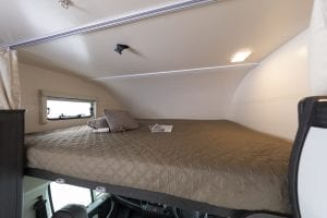 6 – Unleashed motorhome hire – example overcab bed